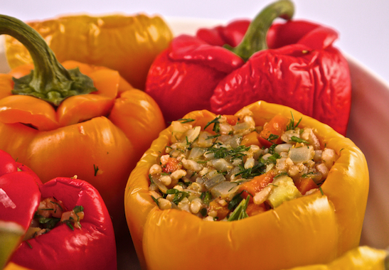 vegan rice stuffed peppers