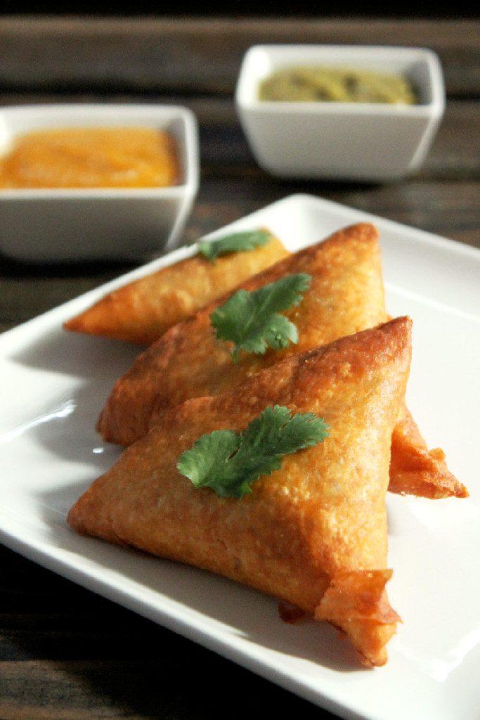 pea and potato samosas with chutney