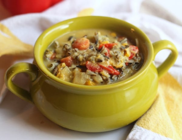 vegan corn wild rice chowder