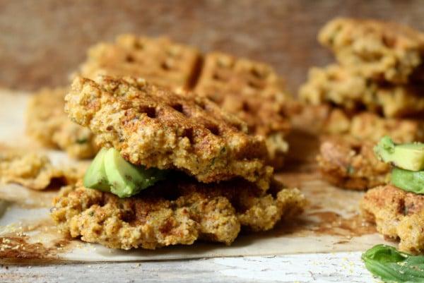 vegan cornbread waffle bites