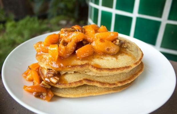 Fresh Apricot & Pecan Vegan Pancakes