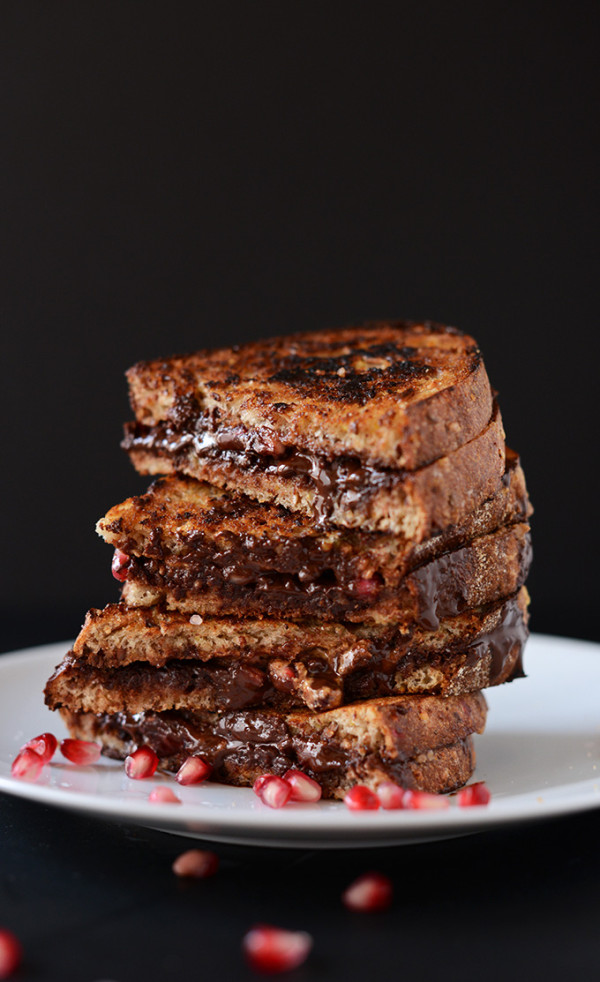 Grilled Almond Butter Dark Chocolate Pomegranate Sandwich