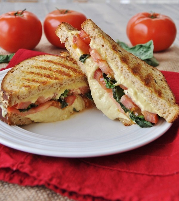 Vegan Tomato Basil Grilled Cheese