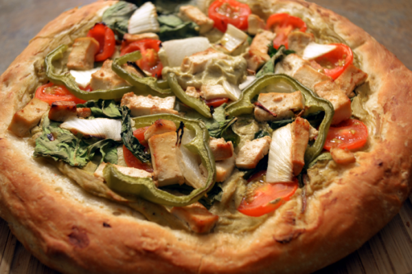 homemade vegan pizza avocado sauce
