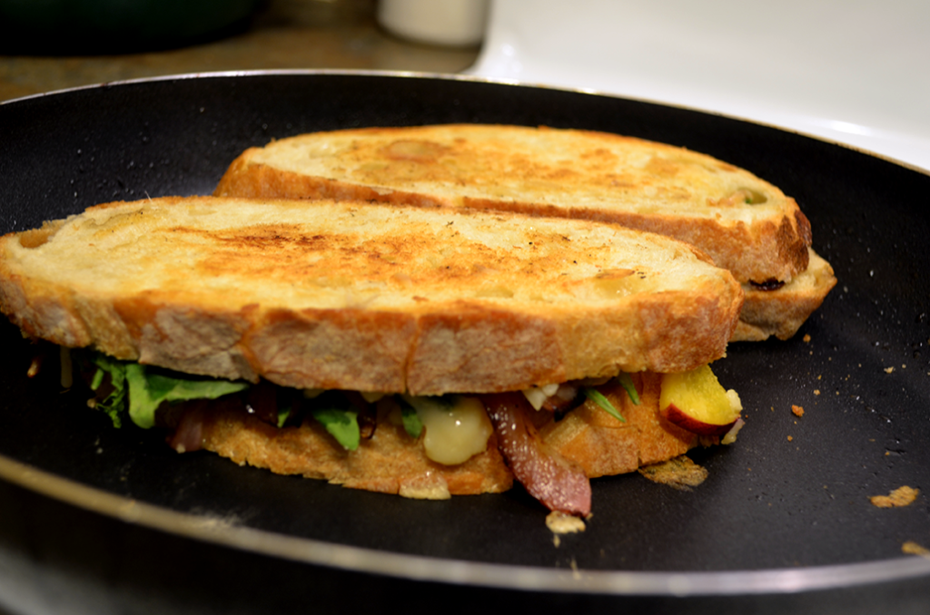 vegan grilled cheese frying pan