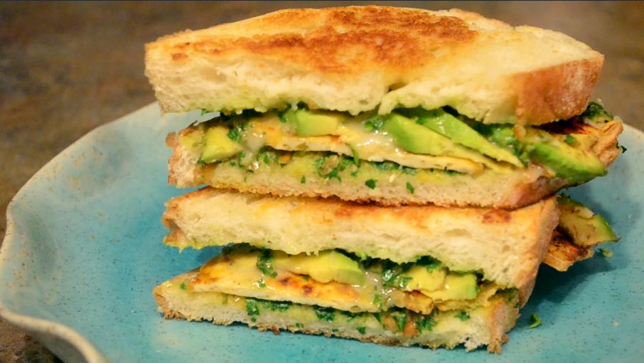 tofu avocado pesto sandwich
