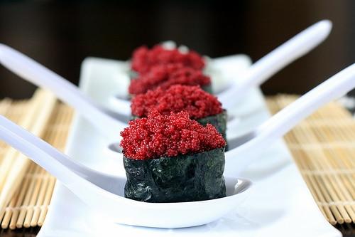faux vegan roe sushi rolls