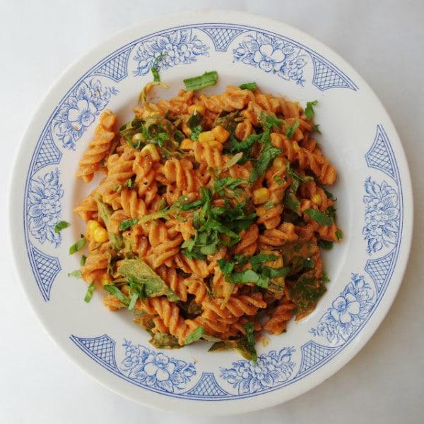 roasted red pepper vegan pasta