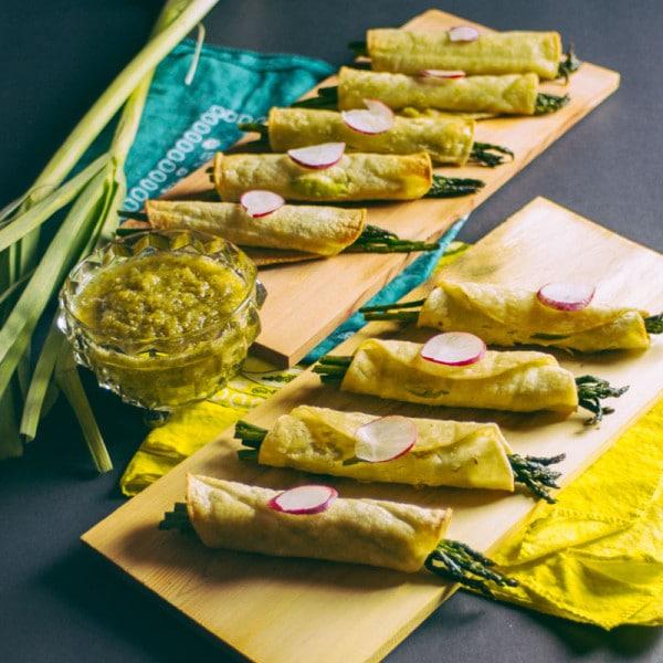 Baked Asparagus and Avocado Taquitos