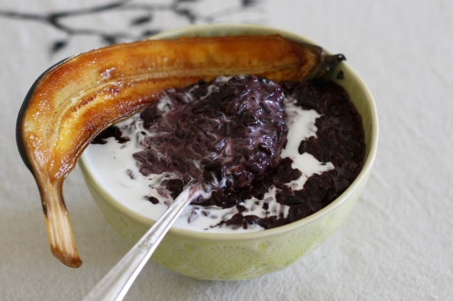 Black Sticky Rice Pudding with Caramelized Banana