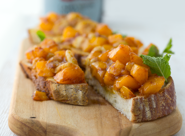 Caramelized Mango and Banana Bruschetta