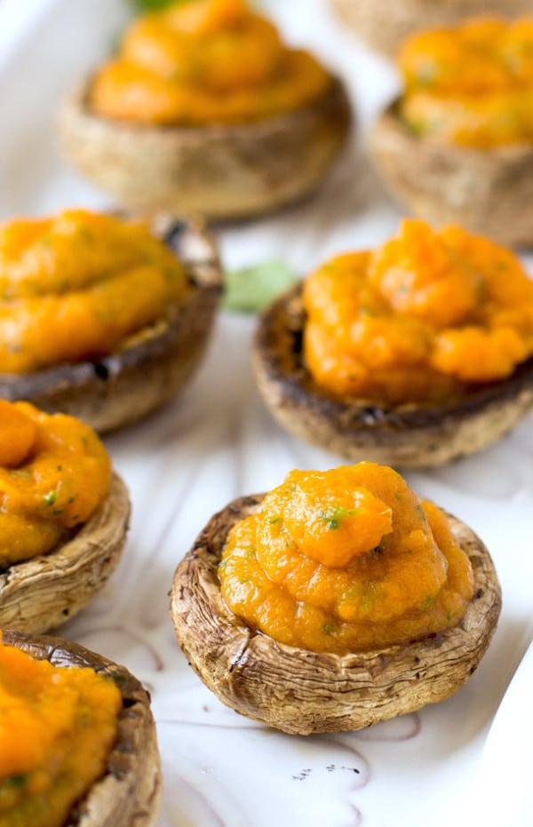 vegan sweet potato stuffed mushrooms