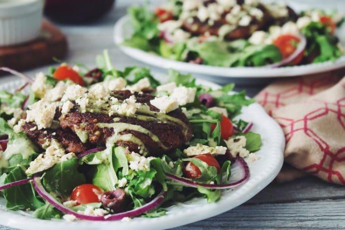Greek Salad with Mushroom Walnut Souvlaki