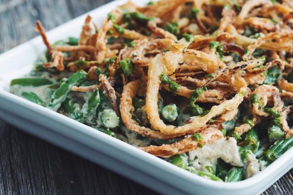 green bean casserole with cripsy pesto onions