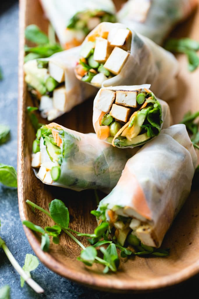 Grilled Asparagus Spring Rolls with Tofu and Ginger-Lime Sauce