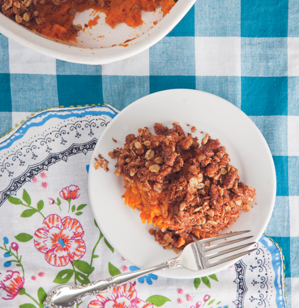 Make Ahead Sweet Potato Casserole with Cinnamon Pecan Oat Crumble