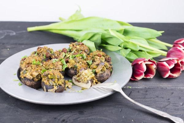 Stuffed Mushrooms with Lemony Asparagus and Pistachios