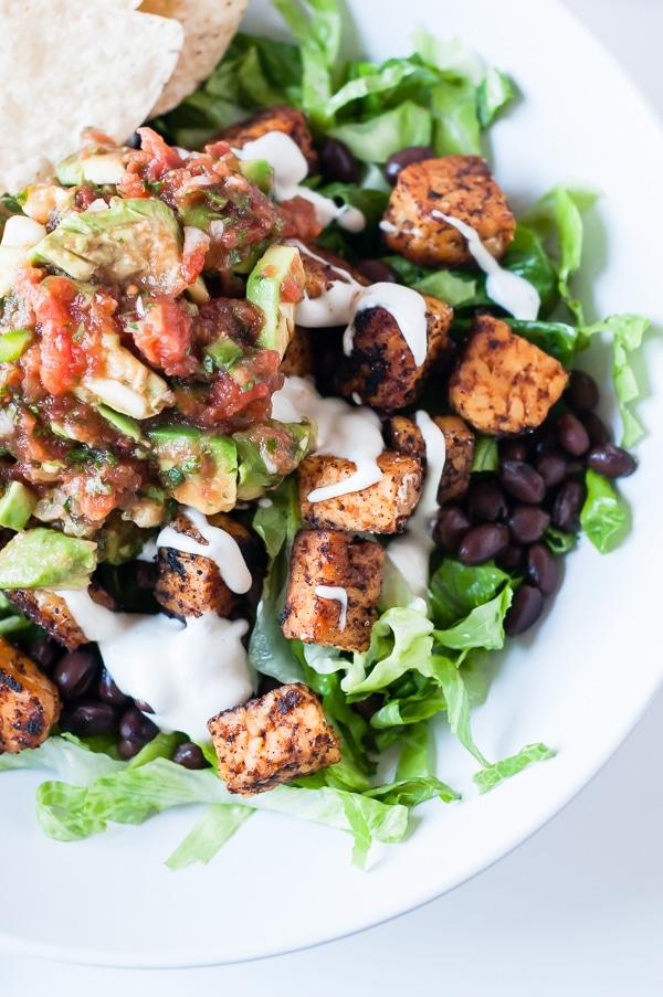 Tempeh Black Bean Vegan Taco Salad