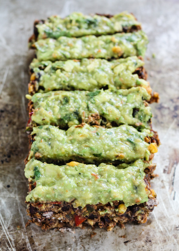 Meatless Black Bean Loaf with Creamy Avocado Verde Sauce