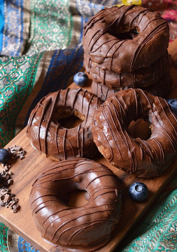 Raw Glazed Almond Butter and Blueberry Cinnamon Doughnuts