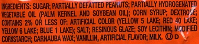 reese's pieces ingredients