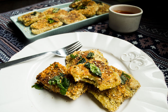 Vegan Toasted Ravioli w/ Cashew-Ricotta & Basil Filling