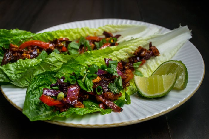 thai tofu lettuce wraps vegan recipe
