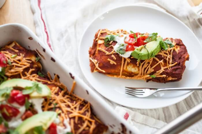 Black Bean, Corn & Red Rice Enchiladas