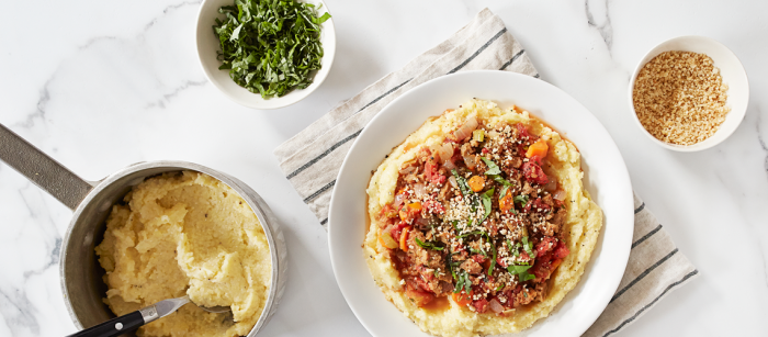 Creamy Polenta with Awesome Bolognese