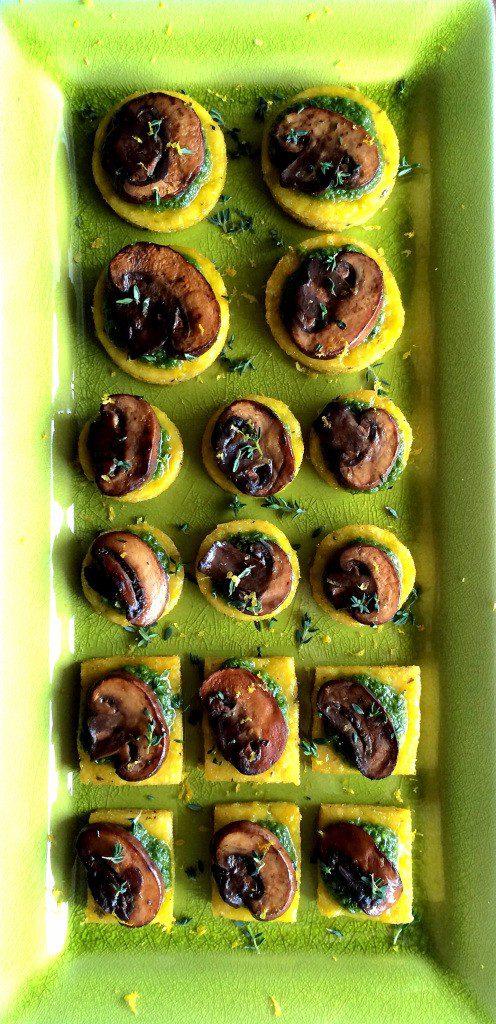 Lemon Thyme Polenta Bites with Arugula Pesto & Mushrooms