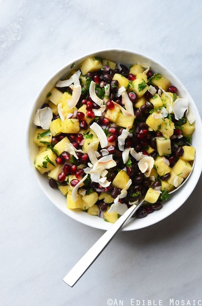 Pineapple Black Bean Salad with Pomegranate Arils and Coconut Chips