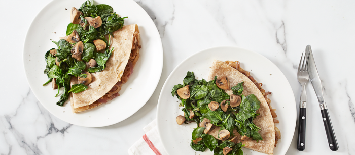 Caramelized Onion Crepes with Warm Spinach-Mushroom Salad