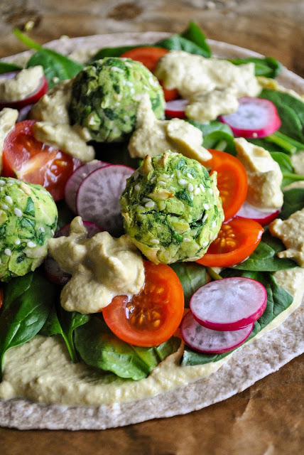 Wraps with Baked Spinach Balls and Lemony Dressing