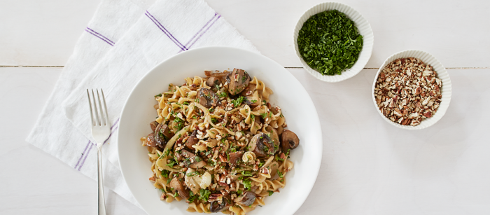 Whole Wheat Fusilli with Mushrooms, Fennel, and Pecans