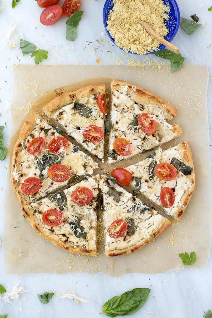 20-Min Tomato & Basil White Pizza