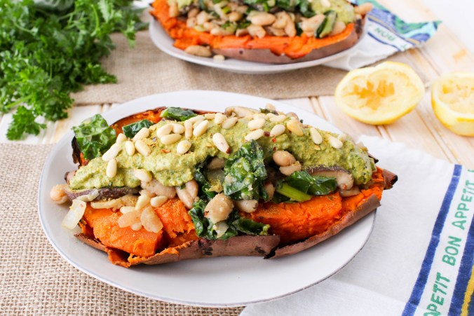 Mushroom and Cannellini Loaded Sweet Potatoes with Lemon Herb Pesto