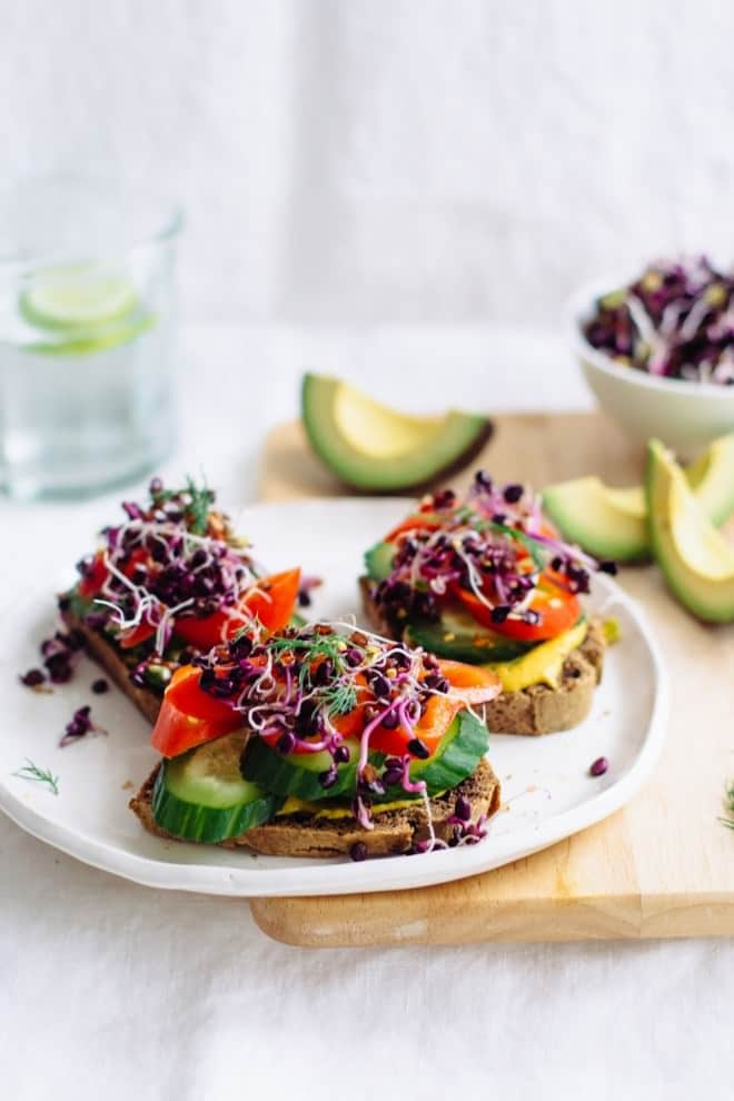 Open Faced Sprout Sandwiches