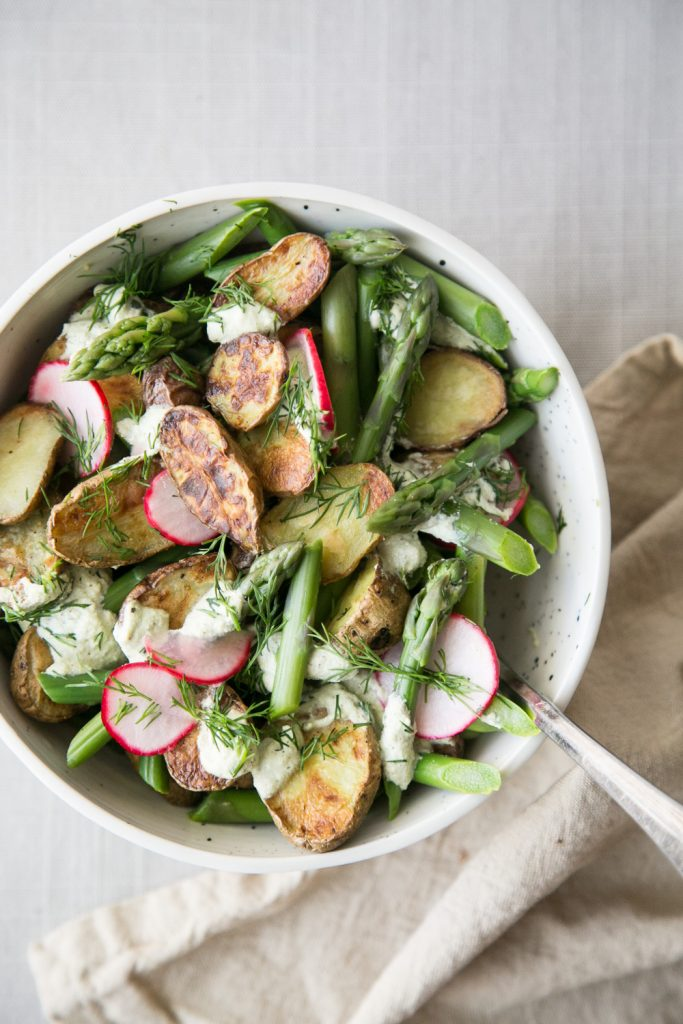 Potato and Asparagus Salad with Pickled Radishes and Creamy Dill Sauce