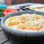 Roasted Garlic & Artichoke Hummus + Homemade Pitas & Tahini Sauce