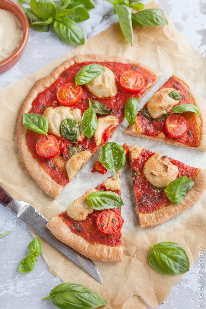 Spelt Margherita Vegan Pizza Recipe with Cashew Ricotta