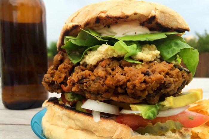 thick juicy veggie burger vegan