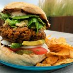 thick juicy veggie burger vegan