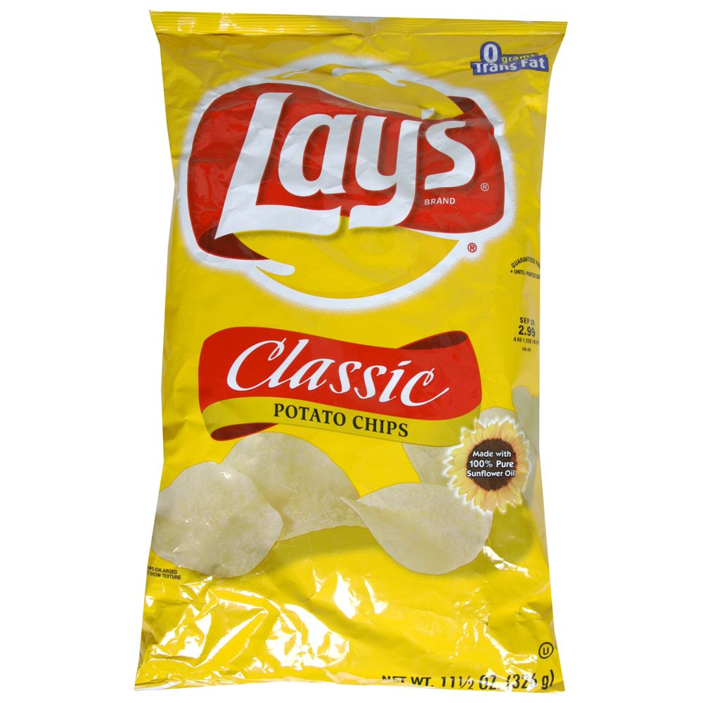 A yellow bag of lays porato chips