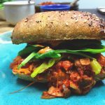 Spicy ancho-chipotle jackfruit sandwich