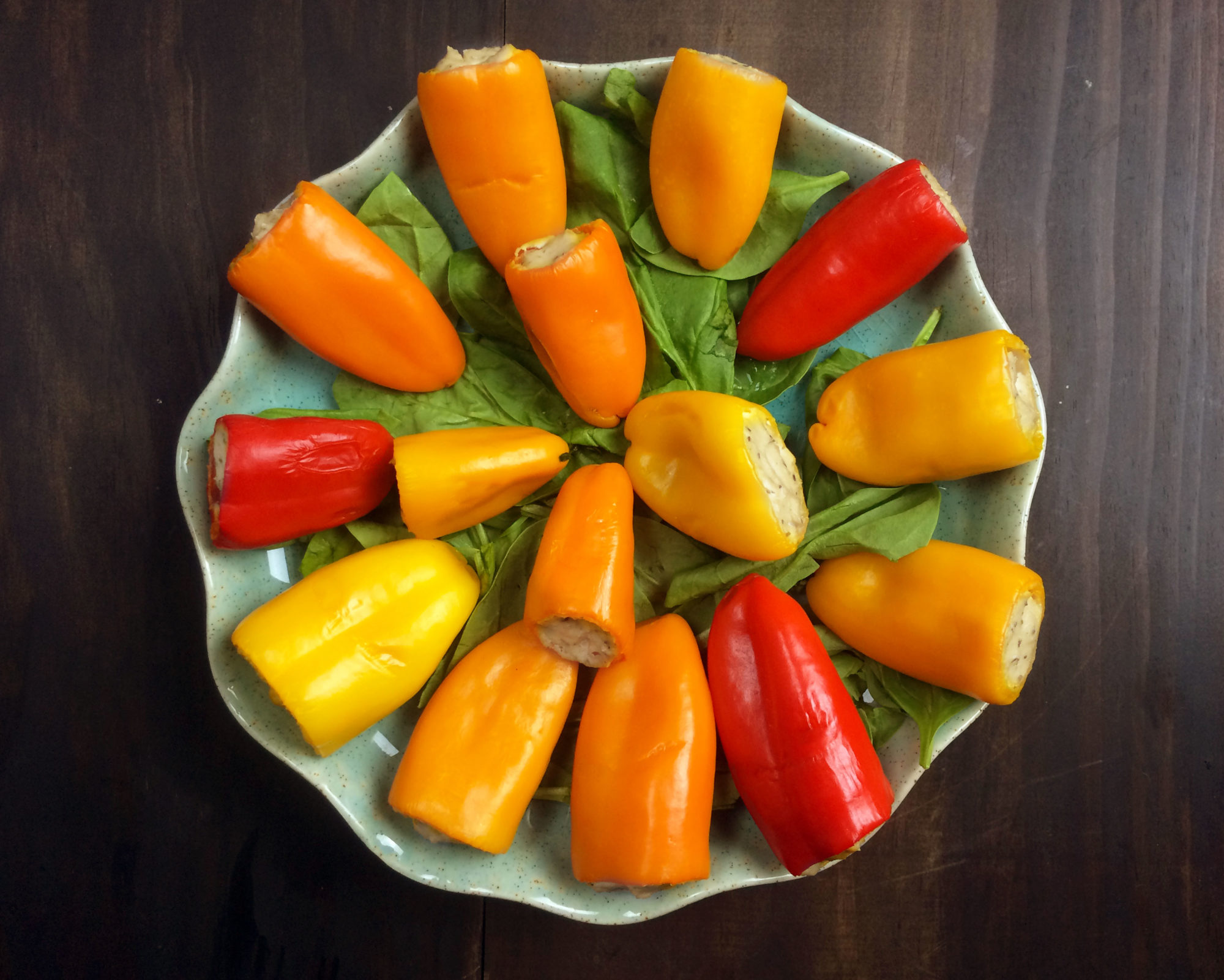 mini stuffed peppers tofu ricotta vegan