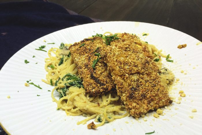 parmesan crusted tofu with mushroom and spinach pasta