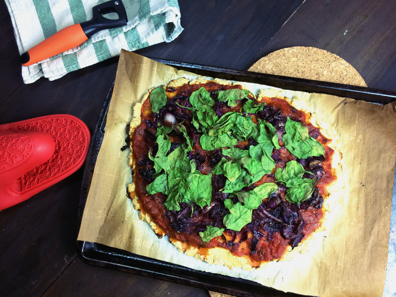 Gluten Free Masa Flatbread w/ Spinach, Caramelized Onions & Red Cabbage