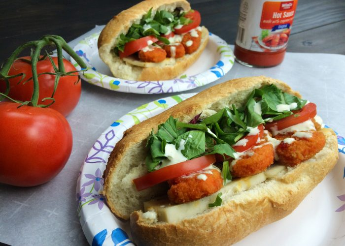 vegan buffalo chicken finger subs
