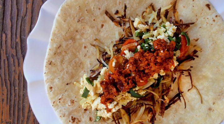 Soy-Chorizo Breakfast Burrito with Tofu Scramble and Hash Browns