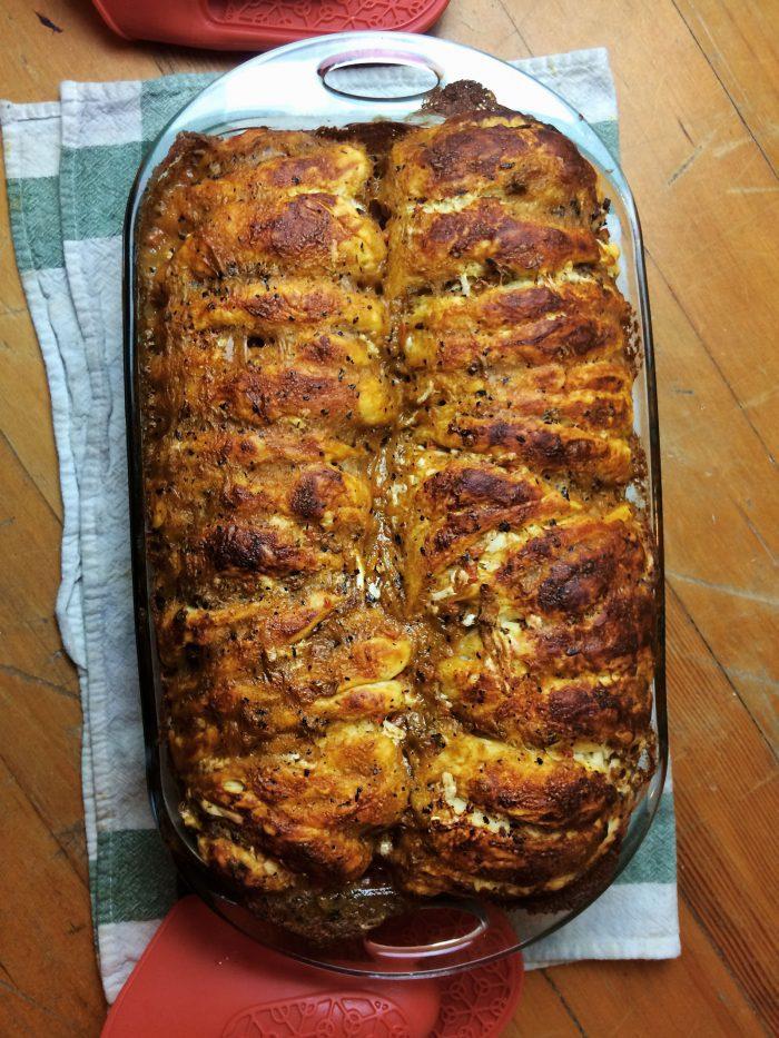 vegan sausage stuffing pull apart bread